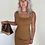 Thumbnail: Rib Knit Bodycon Mini Dress Camel