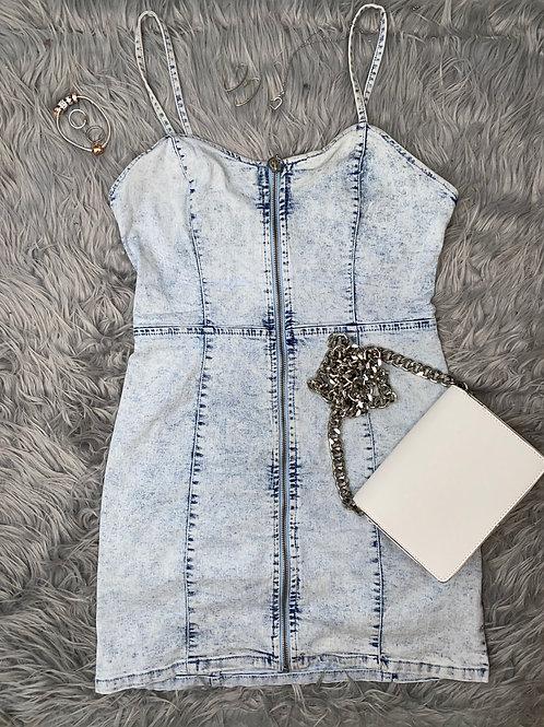 Light Blue Zip Front Denim Cami Dress