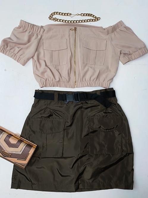 Khaki Belted Parachute Utility Skirt