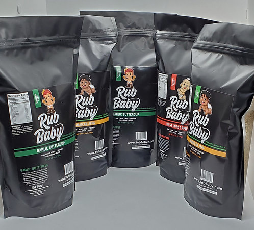 Dry Rub 5 Pack - 2.5 Pounds (40 ounces) - Free Shipping