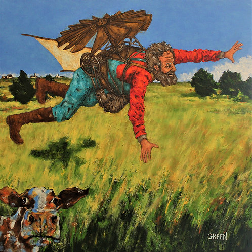 "D.B. Henning's Flight over the Prairie on Stretched Canvas  24"" x 24"""