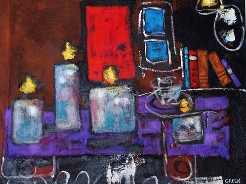 """Four Candles on Stretched Canvas  26""""x 32"""""""