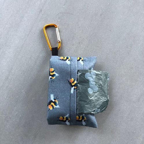 Grey Bees Print Poo Bag Dispenser