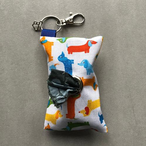 Blue Dachshund Print Poo Bag Dispenser