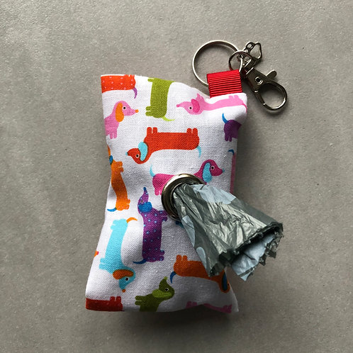 Pink Dachshund Print Poo Bag Dispenser