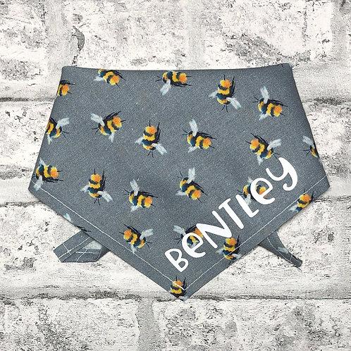 Personalised Grey Bees Bandana