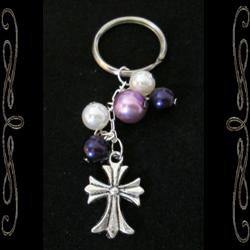 Cross & Pearls Keychain