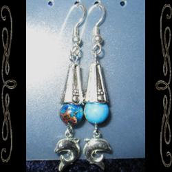 'Bones' Dolphin Drop Earrings