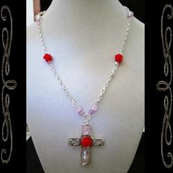 Cross of Roses Necklace