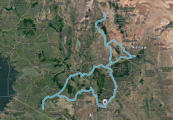 Route Map Budget-Safari-Kenya-11-days SansaTravel