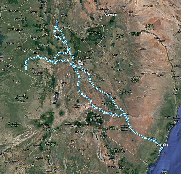 Route Map Budget-Safari-Kenya-16-days SansaTravel