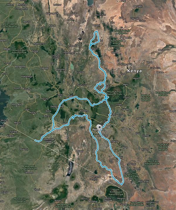 Route Map of Classic-Safari-Kenya-12-days SansaTravel