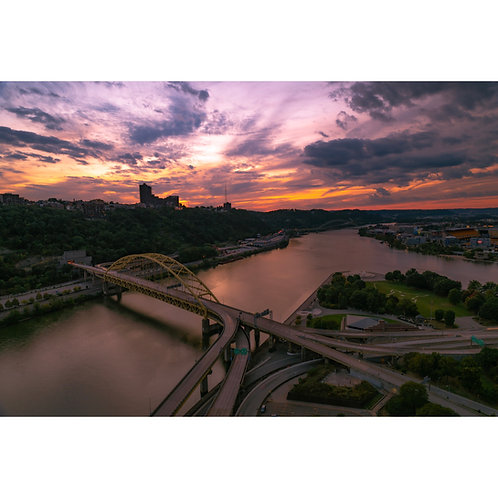 Pittsburgh Point State Park aerial shot featuring the Fort Pitt bridge.