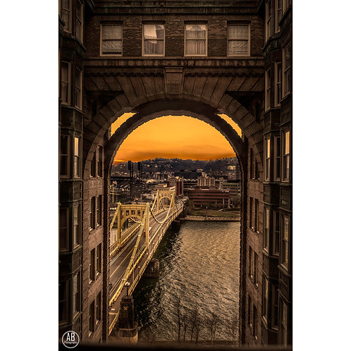 Picture of the Roberto Clemente Bridge from the Renaissance Pittsburgh Hotel during sunset.