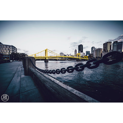 Photo of the Andy Warhol Bridge taken from the North Shore in downtown Pittsburgh