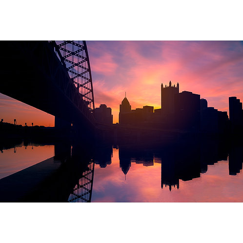 silhouette of Pittsburgh during sunrise from the Fort Pitt Bridge in PGH, 412 Picture, dave dicello