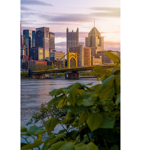 sunset of downtown Pittsburgh during summer with purple skies