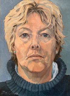 self portrait in blue jumper