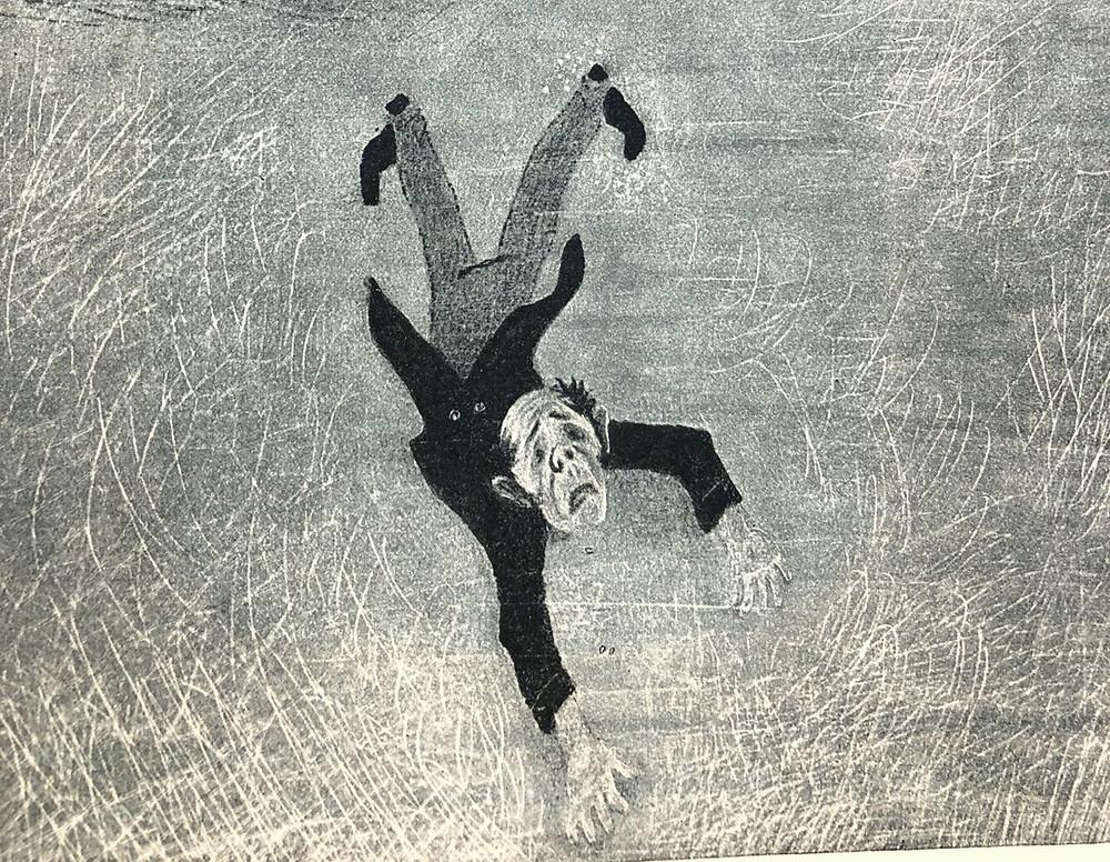 Natan Altman (1889-1970) Artiste juif, peintre, illustrateur, scénographe de génie – il fit, en 1922, la scénographie du Dibouk, pour le théâtre juif « Habima » dans la mise en scène de Vakhtangov. En 1928 il vint à Paris avec l'autre théâtre juif de Moscou, et ne rentra qu'en 1937. C'était le bon moment ! Altman se réfugia dans le livre pour enfants et, miraculeusement, ne fut pas inquiété,  Ses superbes gravures pour les Récits de Pétersbourg de Gogol furent éditées à Leningrad en 1937.  C'est quasiment la dernière publication d'avant-garde en URSS, avant l'étouffement et la destruction physique d'une part notable de cette avant-garde. Dans ce fragment d'une illustration du « Manteau », nous voyons Akaki Akakiévitch affalé sur le sol gelé après que le malfaiteur fantastique l'a dépouillé.