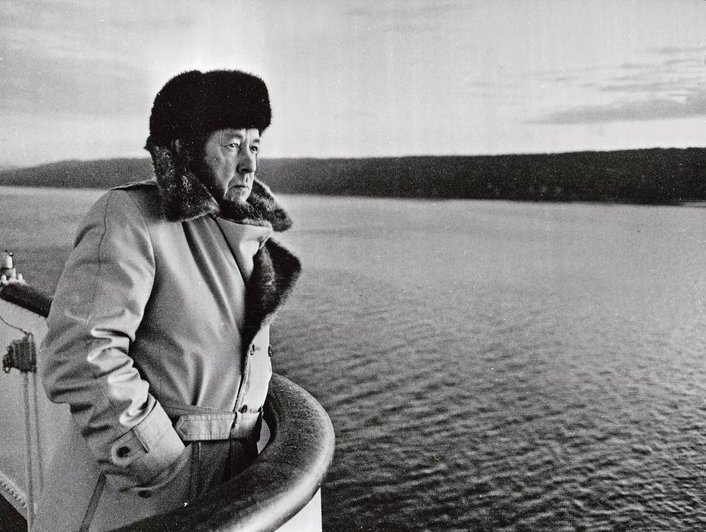 Alexandre Soljenitsyne, lors d'un voyage au Danemark, en 1974. Keystone/Getty Images