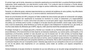 Carta del AFA a todas las familias