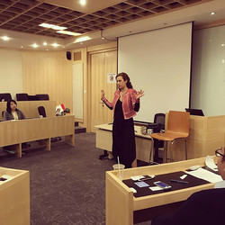 Elena sharing her new year resolutions on toastmaster. What's yours_ _) ._