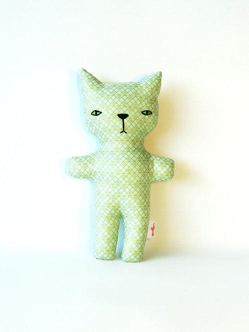 בובות בד בעבודת יד, חתלתול רעשן ירוק עם דוגמת מעוינים