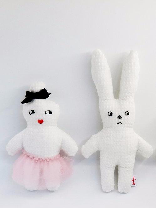 בובות חמודות מבד פיקה לבן ארנבת ורקדנית