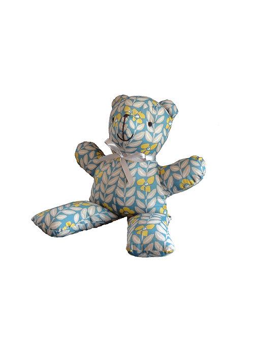 דובי בד רך בגוונים כחול אפור וצהבהב