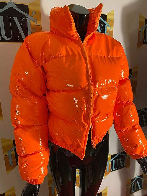 Orange neon bubble coat