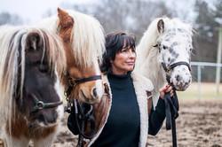 Team member Mel with the Mini Horses
