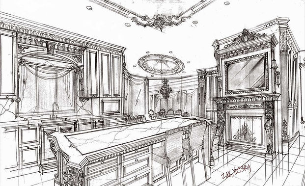 hand sketch traditonal kitchen