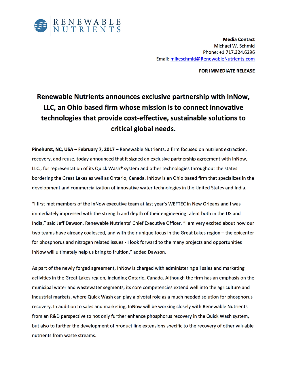InNow Press Release