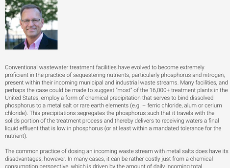 Article: Unconventionally Mining Phosphorus from Wastewater