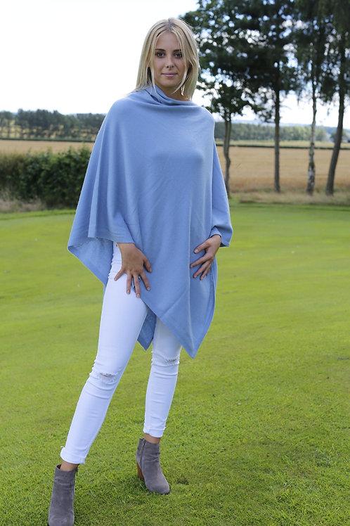 Cashmere Poncho - Pale Blue