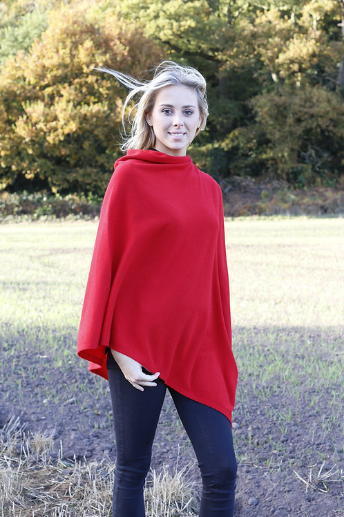 Cashmere Poncho - Red