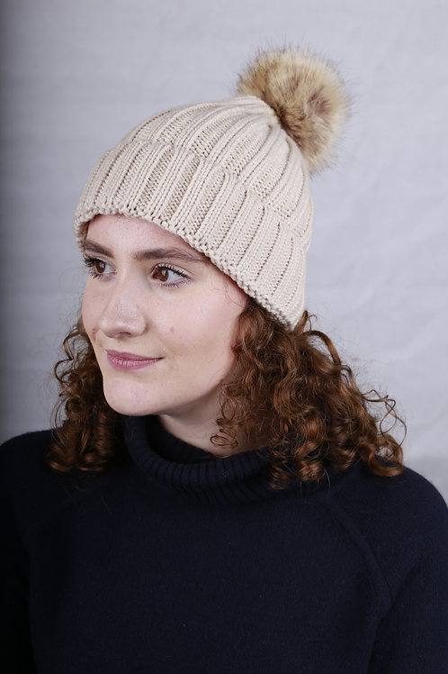 Bobble Hat - Cream