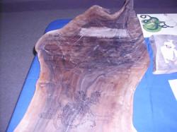 Wood burned scroll