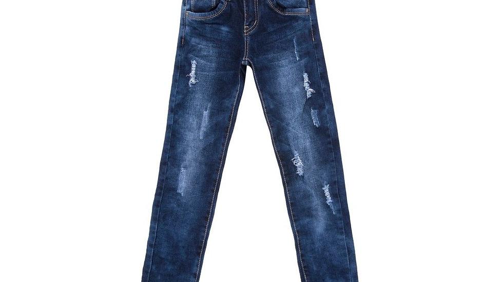 Jeans pour fille coupe slim usée et déchirure -