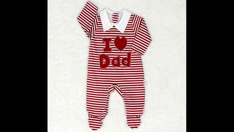 Combi layette appli I LOVE DAD - rayé rouge