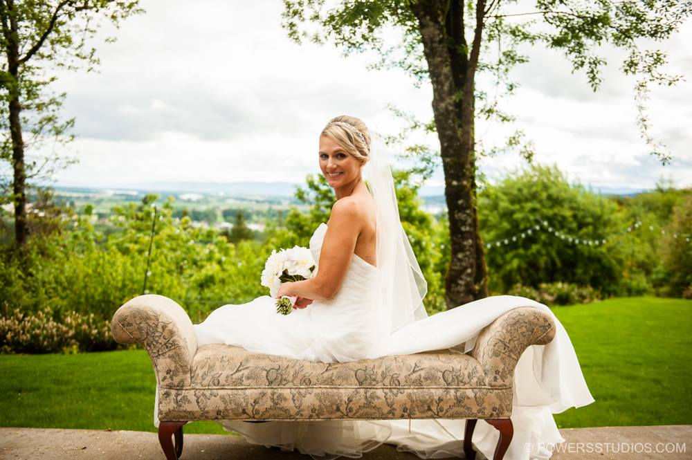 Bride with valley in background