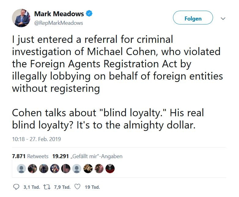 Mark Meadows Twitter Cohen