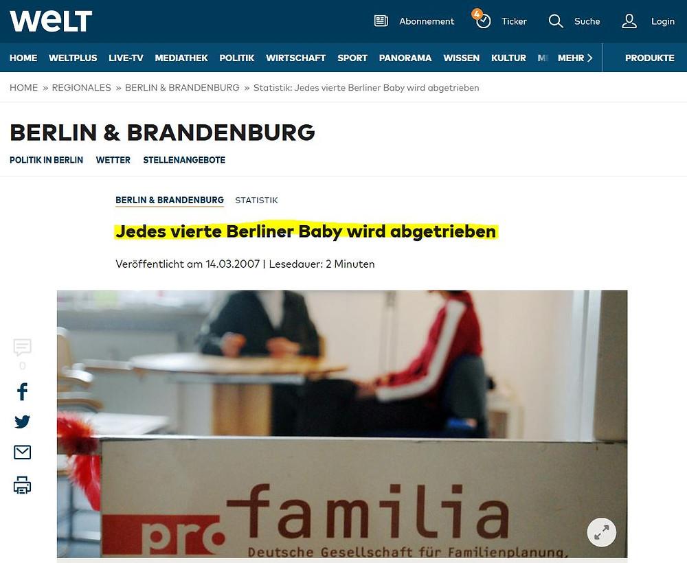 Abtreibungen Berlin Welt