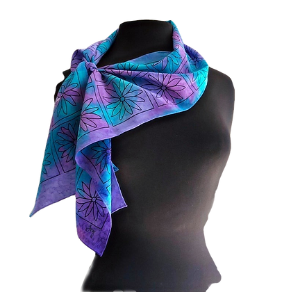 hand painted silk scarf ombré background of ocean colors of turquoise blue, teal and purple, graphic daisy pattern