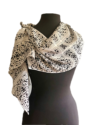 Luxurious Pure Silk Baroque Tile Crepe de Chine Shawl, graphic design in gardenia, nickel grey, black, draped to the side