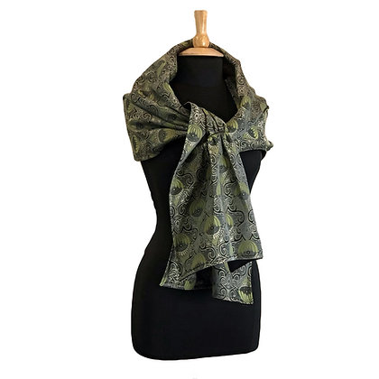 Silk Shawl - Reversible Matcha Green Brocade & Merino Wool
