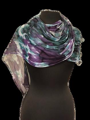 Silk Shawl - Blue Purple & White
