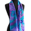 Draped hand painted silk scarf ombré background of ocean colors of turquoise blue, teal and purple, graphic daisy pattern