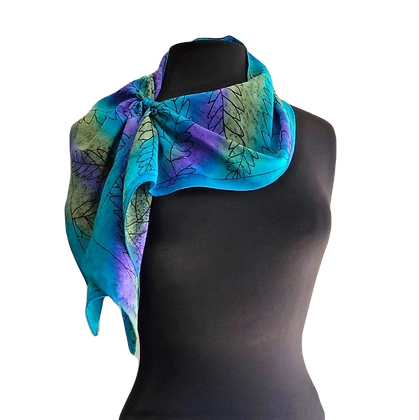hand painted silk crepe de chine scarf graphic olive leaf motif on a cool blue olive green and purple ombré 8 x 54 inches