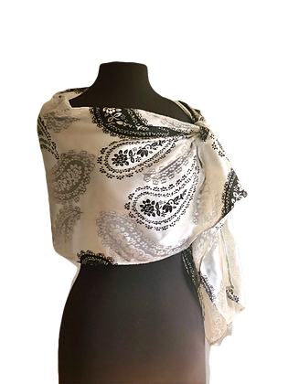 Luxurious Silk Satin Black & White Paisley Printed with a burnout design, tied to the side
